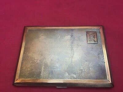 Antique 1935 Art Deco Solid Sterling Silver & Gilt Engine Turned Cigarette Case