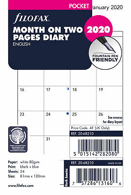 Filofax - Pocket Month on two pages English block format not tabbed 2020 Diary