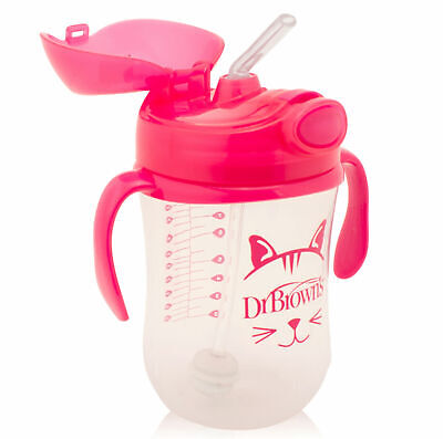 Dr Brown's Baby Weighted Spillproof Straw Cup│BPA Free│Dishwasher Safe│Pink│