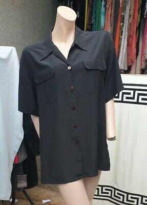 St Michael Ladies Blouse Long Sleeve Shirt Black Size 12 1990s Vintage