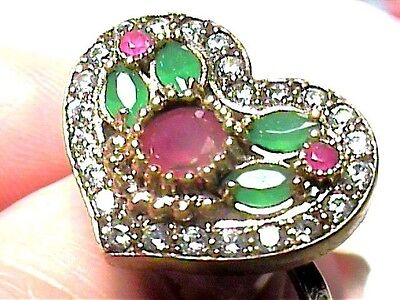 VINTAGE ANTIQUE RUBY emerald SILVER RING 9 MEDIEVAL NATURAL STERLING 925 HEART