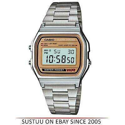 Casio A158WEA-9 Digital Men's Wrist Watch Silver Stainless Steel Band Gold Face