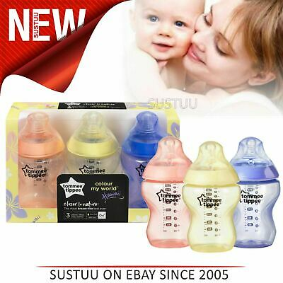 Tommee Tippee Closer to Nature Colour My World Bottle 260ml 3 Pack│Anti Colic