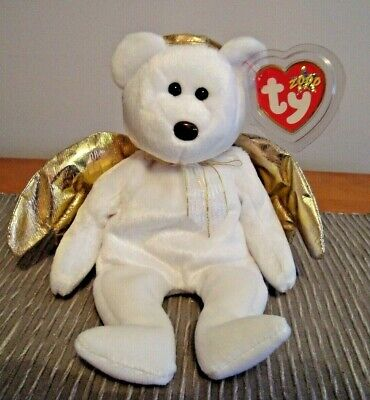 cdc3e48f27c TY BEANIE BABY HALO Guardian Angel Bear 1998 Brown Nose Black Eyes ...