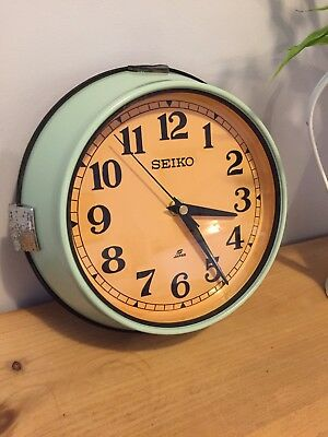 Vintage Industrial Seiko Quartz Wall Clock - Green (1970's)