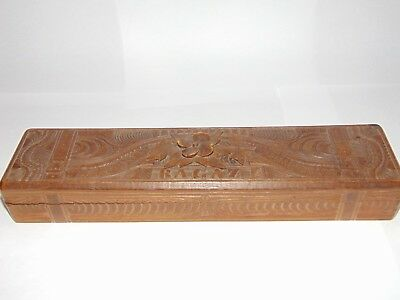 Antique Hand Carved Swiss Black Forest Wood Pen Pencil Storage Box Desk Tidy