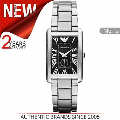 Emporio Armani Classic Men's Watch AR1638│Rectangle Black Dial│Stainless Strap