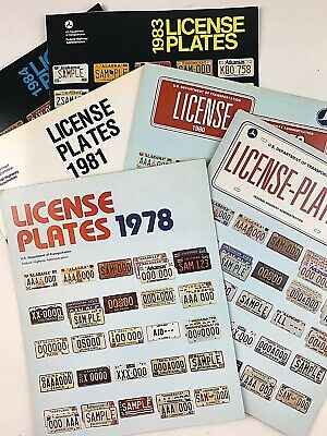 Lot of 6 Old License Plate Guides All States & Canada Different Years 1978-1983