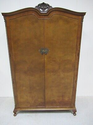 Antique Design Burr Walnut Double Wardrobe Queen Anne Leg French Wardrobe