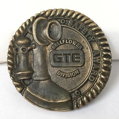 GTE Belt Buckle Bellflower Division Safety Award Telephone Brass Tone California