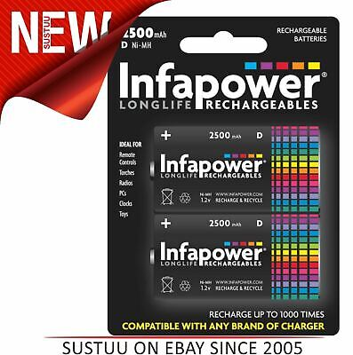 Infapower B006 Longlife Rechargeable D Ni-MH Batteries 2500mAh - Pack of 2