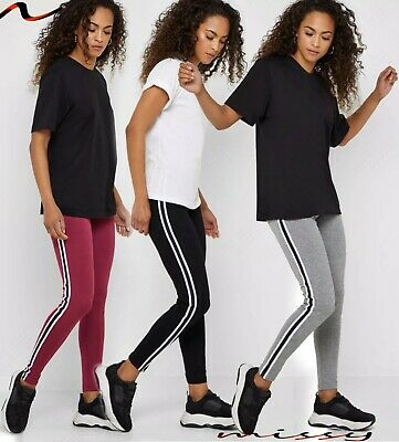 NEW Womens Ladies SIDE STRIPE Plain Full Length Leggings High Quality Soft BLACK