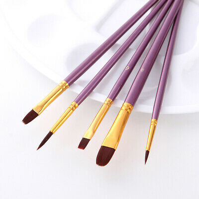 Artist Paint Brush Set Nylon Hair Watercolor Acrylic Children Painting Tools 6A
