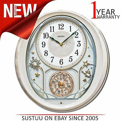 Seiko Melody in Motion Wall Clock│Pink Marble Case│Hourly Strike│QXM370P│NEW