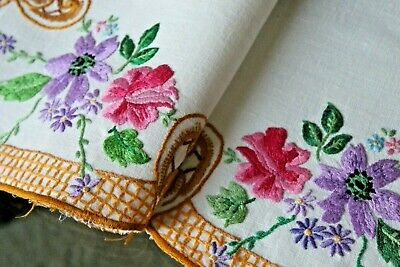 Vtg Antique Irish Linen Heavily Hand Embroidered Placemat Table Mat Spring!