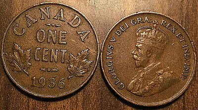 1936 Canada Small 1 Cent Coin Penny Vg-F Buy 1 Or More Its Free Shipping!