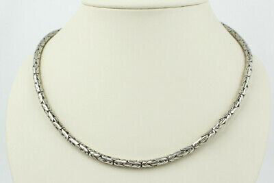 Simple Sterling Silver Bali Byzantine Link Chain Necklace