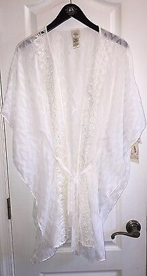 NWT  70 In Bloom by Jonquil Ivory White Floral Sexy Sheer Kimono Robe  Women s XL a77f6e30d