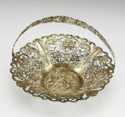 German .800 Silver Swing Handle Footed Basket, Reticulated, 19th Century