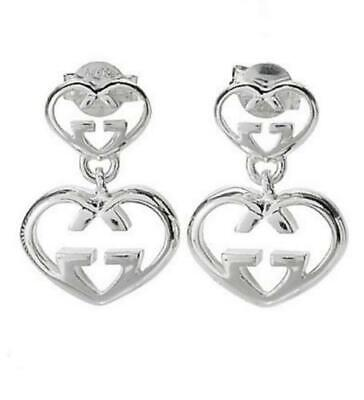 472032d4dcc  545 NWT GUCCI Love Britt G Double Heart Post Earrings. Sterling Silver
