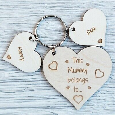 Personalised Mothers Day Gift Wooden Keyring Heart Worlds Best Mummy Mum Dad Ply