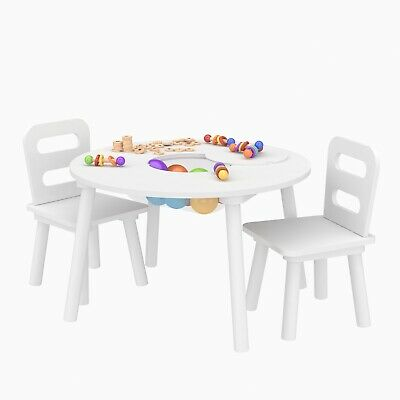Kids Wooden Table and Chair Set Fun &Creativity Bedroom White / Grey Combination