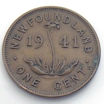 1941 C Canada Newfoundland One 1 Cent Small Penny Circulated Canadian Coin I910