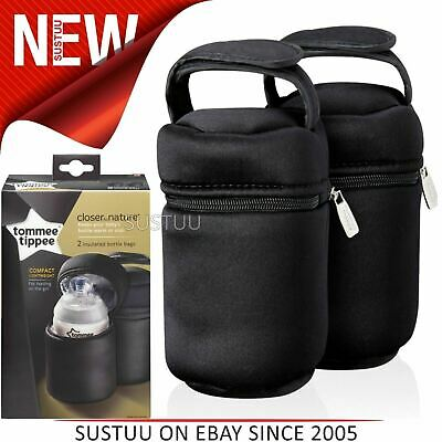 Tommee Tippee Closer to Nature Insulated Baby Bottle Carrier 2Pk│Warm & cold│New