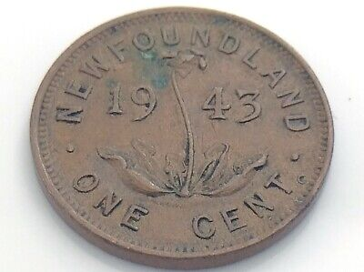 1943 C Canada Newfoundland One 1 Cent Small Penny Circulated Canadian Coin I911