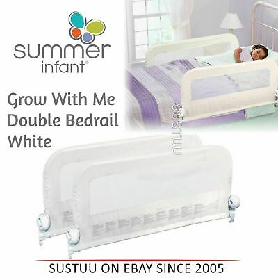 Summer Infant Grow With Me Double Bedrail│Baby Kid's Bed Safety Guard Rail│White