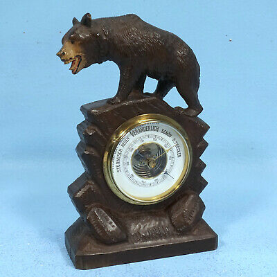 Antique Swiss Black Forest Wood Carving BAROMETER Standing Bear Brienz c1900