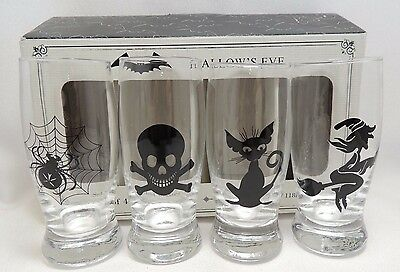 Hallows Eve Halloween 4 Shot Glasses Gift Box Four Spider Skull Cat Witch New