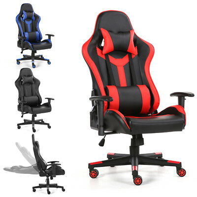 Racing Gaming Computer Office Chair Adjustable Swivel Executive Recliner Leather