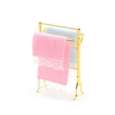 1/12 Dollhouse Miniature Bathroom Towels Rack Set for Decoration Accessories BS