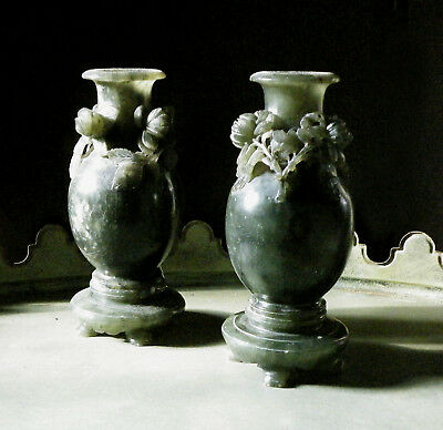 Pair of Antique Chinese Spinach Green Carved Stone Vases - Jade ?