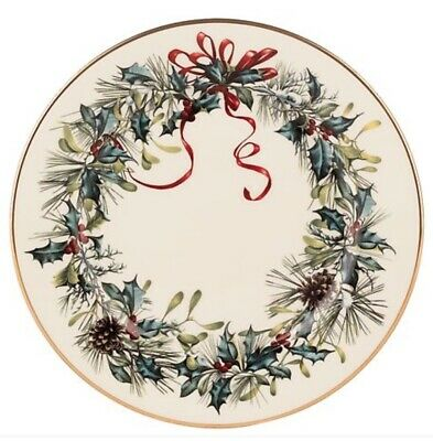 (NEW) Lenox Fine China ~ Holiday Winter Greetings Gold Rim Bread & Butter