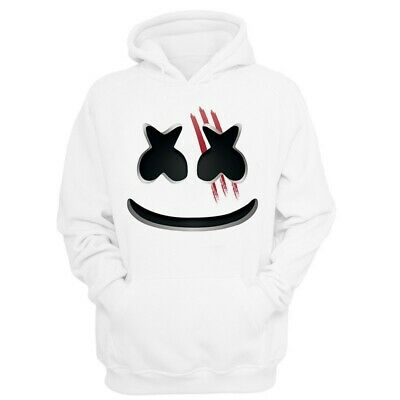 NEW Marshmellow Face White Hoodie Sweatshirt Fleece Unisex Costume Music DJ 2019