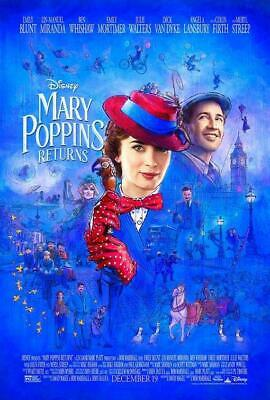 "DISNEY'S MARY POPPINS RETURNS - 27""x40"" D/S Original Movie Poster One Sheet 2018"