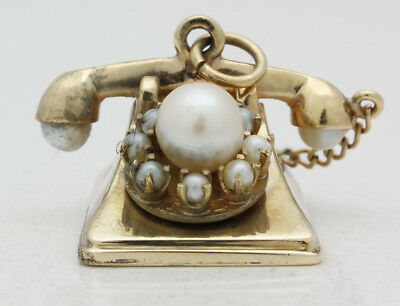 Vintage 14k Yellow Gold, Pearl, & Seed Pearl Rotary Phone Pendant/Charm