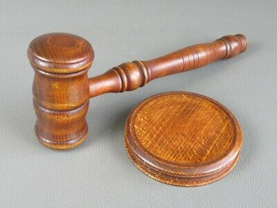 Vintage Ornament Table Hammer Judge Wooden Law Firm