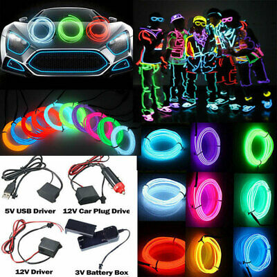 5M Flexible Neon LED Light Glow EL Wire String Strip Rope Tube with 4 Controller