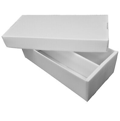 fc057a81372 WHITE 2-Row Shoe Box Corrugated Plastic 1600 Count Card Storage Box  ASSEMBLED