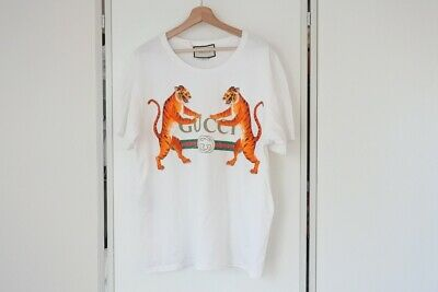 b75ca1f7 GUCCI Tiger Print Tee T-Shirt White Half Sleeves made in Italy Men's XL Y142