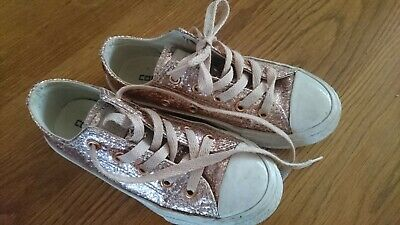 9e141e814593 GIRLS GLITTER CONVERSE Size 12 Pink Sparkly Trainers Shoes Rose Gold ...