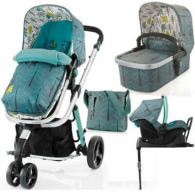 Cosatto giggle 2 3 in 1 travel system in Fjord with car seat base bag & footmuff