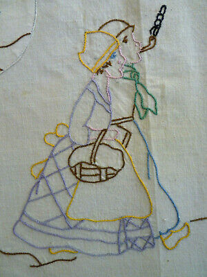 DUTCH COUPLE & WINDMILL Vintage Hand Embroidered Apron