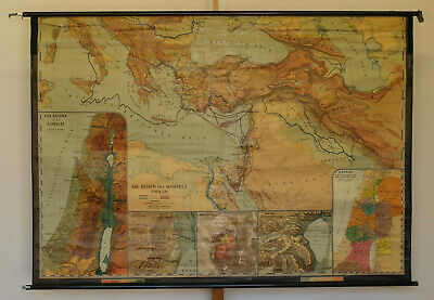 Wandkarte Die Biblischen Länder Bibel 218x153~1955 Old New Testament vintage map