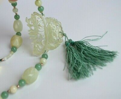 Antique Chinese light Green translucent Jade Jadeite Necklace with silk tassels
