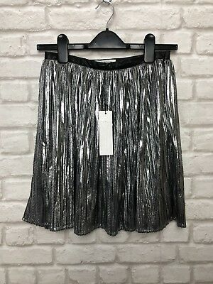 8c8e4576459d Glamorous Ladies Mini Skirt Size 10 Pleated Silver Grey Party Evening *bnwt*