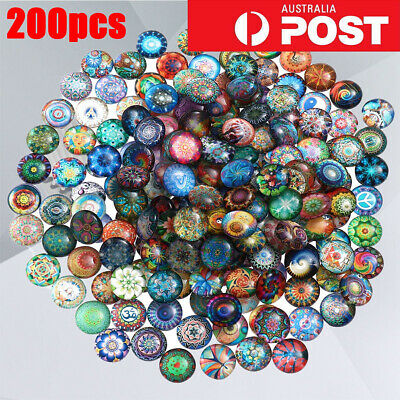 10/200 Mixed Round Mosaic Tiles Crafts Glass Supplies for Jewelry Making 10/14mm